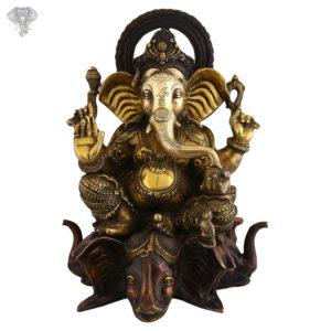 "Photo of Abhaya Hastha Ganapati Idol Sitting on 5 faced Elephant Throne-22""-Facing Front"
