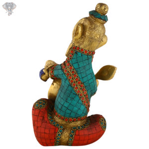 """Photo of Very Unique Ganesh Statue with Pen in his hand writing Ramayan with Beautiful Multicolour Turquoise Work on it-11""""-Back side"""
