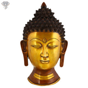 """Photo of Beautiful Handcrafted Buddha Statue with Gold and Copper Finishing-15""""-Facing Front"""