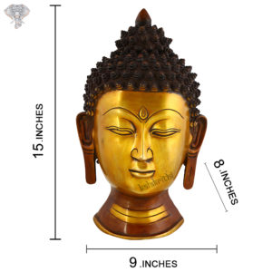 """Photo of Beautiful Handcrafted Buddha Statue with Gold and Copper Finishing-15""""-with measurements"""