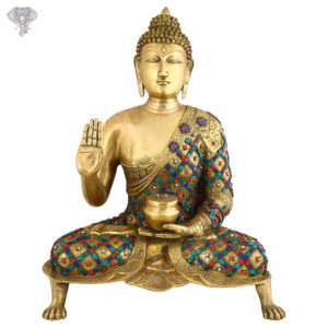 """Photo of Beautiful Handcrafted Buddha Statue with Torquoise Work-26""""-Facing Front"""
