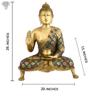"""Photo of Beautiful Handcrafted Buddha Statue with Torquoise Work-26""""-with Measurements"""