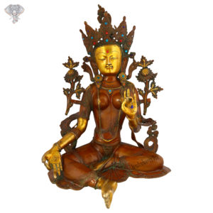 """Photo of Goddess Taradevi Statue with Turquoise Work-27""""-Facing Front"""