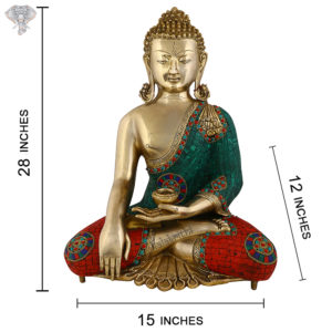 """Photo of Beautiful Handcrafted Buddha Statue-28""""-with measurements"""