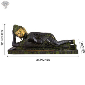 """Photo of Beautiful Handcrafted Sleeping Buddha Statue with Torquoise Work-12""""-Back side"""