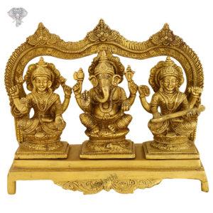 "Photo of Lord Ganesha, Goddess Lakshmi and Goddess Saraswati Statue-8""-Facing Front"