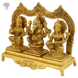 "Photo of Lord Ganesha, Goddess Lakshmi and Goddess Saraswati Statue-8""-facing Right side"
