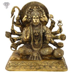 "Photo of Panchamukhi Hanuman | 5-faced Hanuman Statue | Antic Finish-9""-Facing Front"
