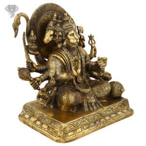 "Photo of Panchamukhi Hanuman | 5-faced Hanuman Statue | Antic Finish-9""-Facing left side"