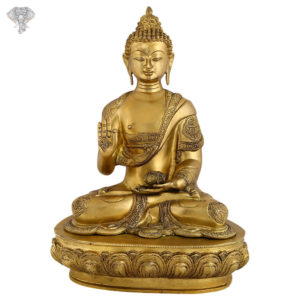 """Photo of Beautiful Handcrafted Buddha Statue with Gold Finishing-17""""-Facing Front"""