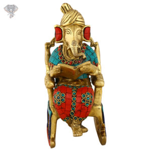 """Photo of Very Unique Ganesh Statue Sitting on Chair-8""""-Facing Front"""