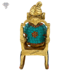 """Photo of Very Unique Ganesh Statue Sitting on Chair-8""""-Backside"""