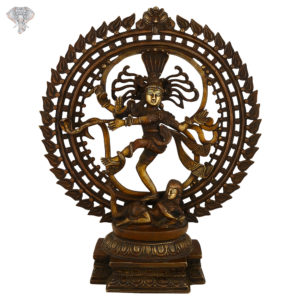 """Photo of Very Artistic Nataraja Statue with 3-t-oned Colouring-20""""-Facing Front"""