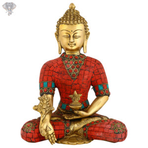 """Photo of Very Rare, Very Artistic Goddess Buddha Statue with Red turquoise work-9""""-Facing Front"""
