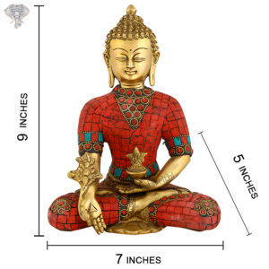 """Photo-of-Very-Rare-Very-Artistic-Goddess-Buddha-Statue-with-Red-turquoise-work-9""""-with-measurements"""
